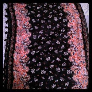 Paisley Infinity Scarf w Tassles - Ann Taylor Loft